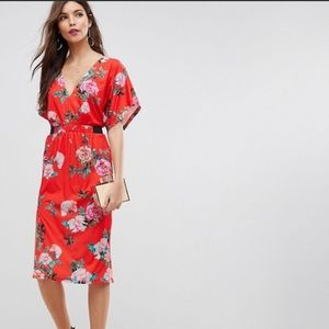 ASOS Red Floral Midi Dress with Flutter Sleeve